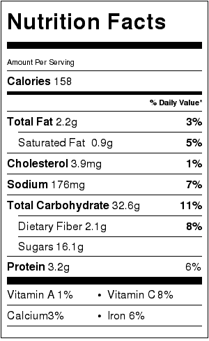 fresh cherry pie nutrition label