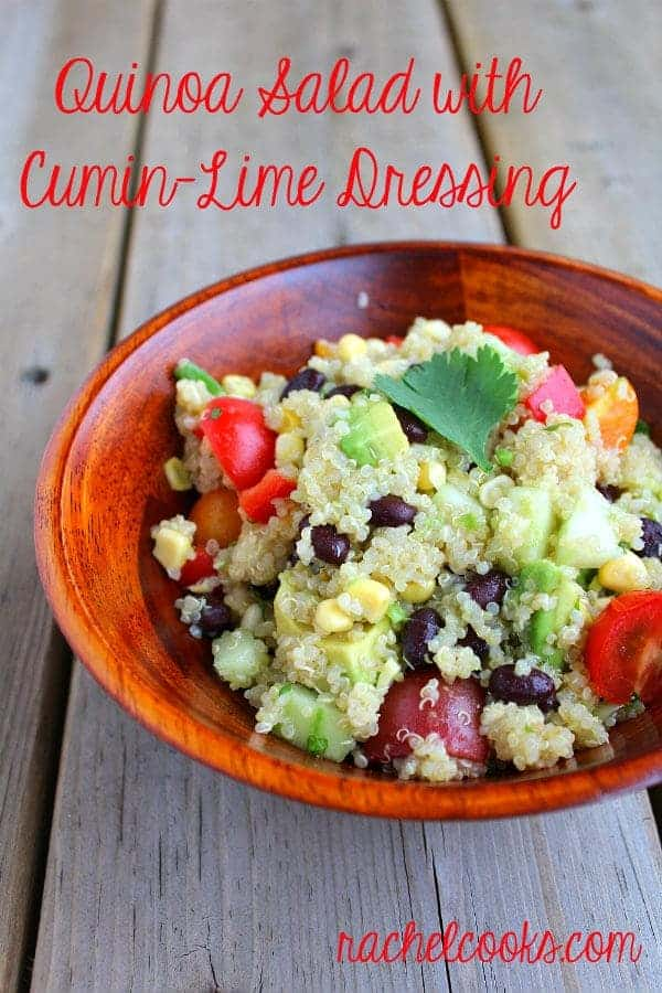 This Quinoa Salad with Cumin-Lime Dressing is sure to become a summertime favorite with its unique dressing! Get the easy recipe on RachelCooks.com!