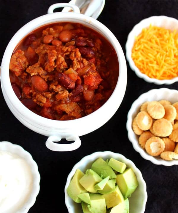 This Chili Recipe is a serious crowd pleaser! With a blend of turkey and beef, the flavors are out of this world! Get the easy recipe on RachelCooks.com - perfect for football season!