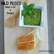 This mild pesto is a great alternative for those who don't love the strong flavor of pesto. It's also great to freeze - so make sure to harvest that basil before it dies! Get the easy recipe on RachelCooks.com!