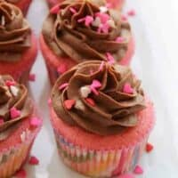 Pretty in Pink Cupcakes with Chocolate Buttercream