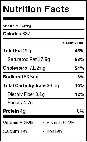 Dessert Sandwich Nutrition Label