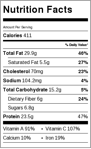 asian chicken salad nutrition label