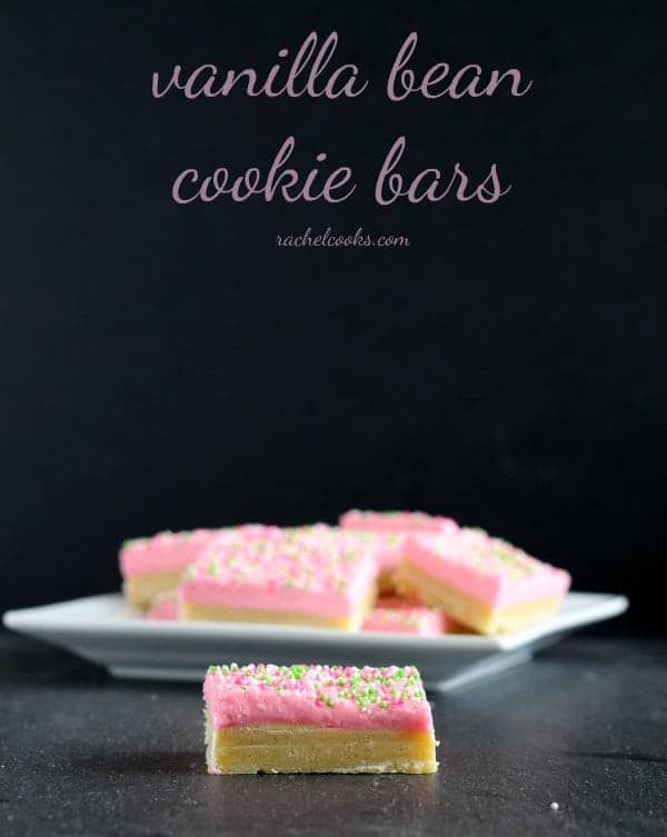 These vanilla bean cookie bars are delicate, girly, and delicious thanks to plenty of vanilla beans. Get the easy and fun recipe on RachelCooks.com!