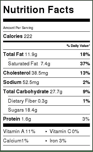 vanilla bean cookie bar nutrition label