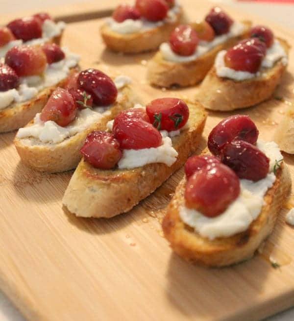 Roasted Grape and Ricotta Crostini | RachelCooks.com