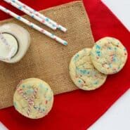 Patriotic Funfetti Cookies that are a cinch to throw together. Kids and adults will both love these soft and chewy cookies. Cookie perfection. Get the funfetti recipe on RachelCooks.com!