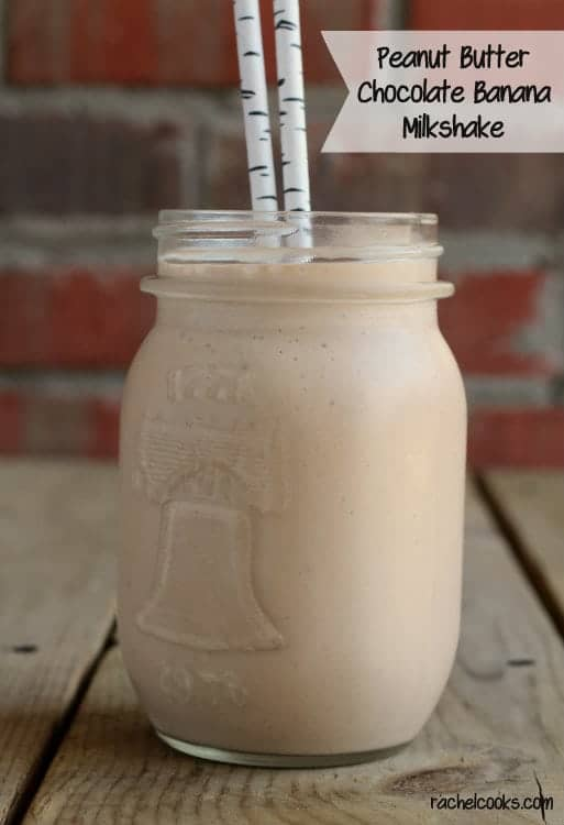 This Peanut Butter Chocolate Banana Milkshake is cool, refreshing and perfect for a hot summer day. And what better flavor combination is there? Milkshake recipe on RachelCooks.com!