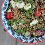 Herbed Israeli Couscous Salad with Tomato and Mozzarella