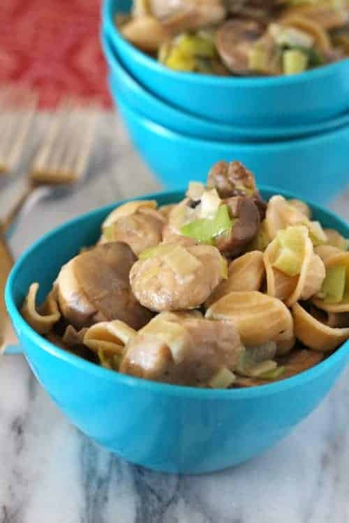 This orecchiette pasta dish will have your whole family smiling with the flavors of mushrooms, leeks and chicken sausage. Complete in 30 minutes! Get the easy recipe on RachelCooks.com!