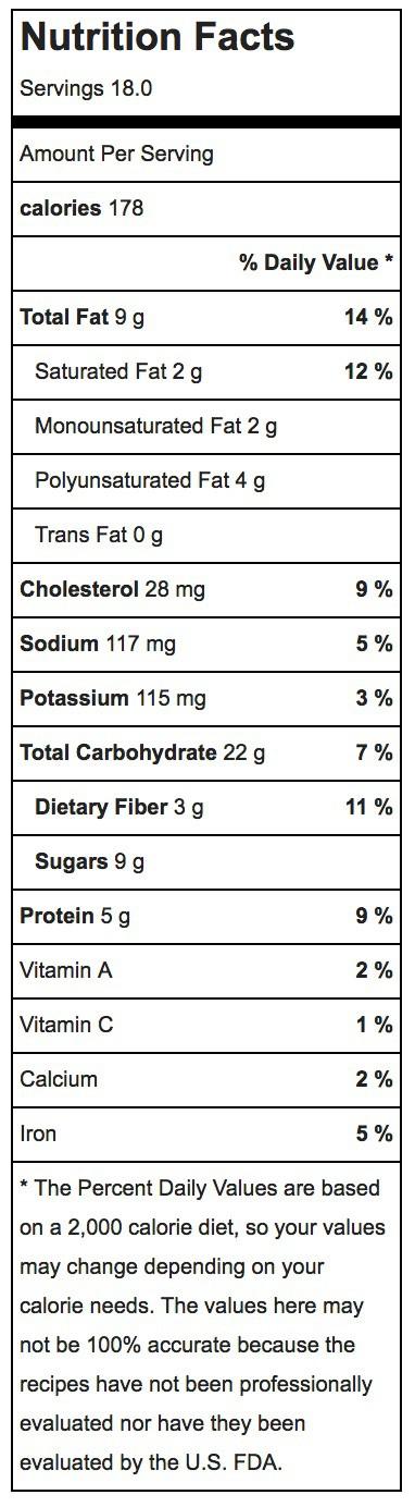 Apple Crisp Breakfast Cookies Nutrition Label