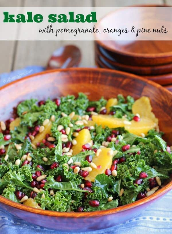 Kale Salad with Pomegranate, Oranges and Toasted Pine Nuts on RachelCooks.com