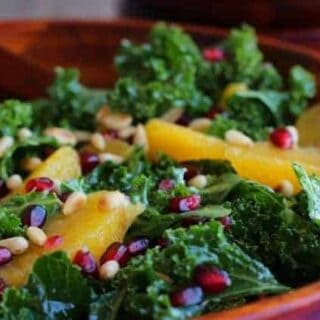Kale Salad with Pomegranate, Orange, and Pine Nuts