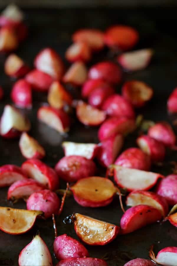 roasted radishes on sheet pan photo