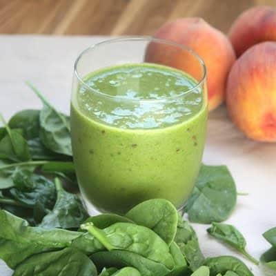 Spinach Peach Smoothie from Barefeet in the Kitchen
