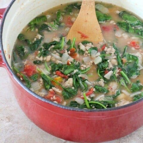 20 Minute Turkey, Bean and Spinach Soup