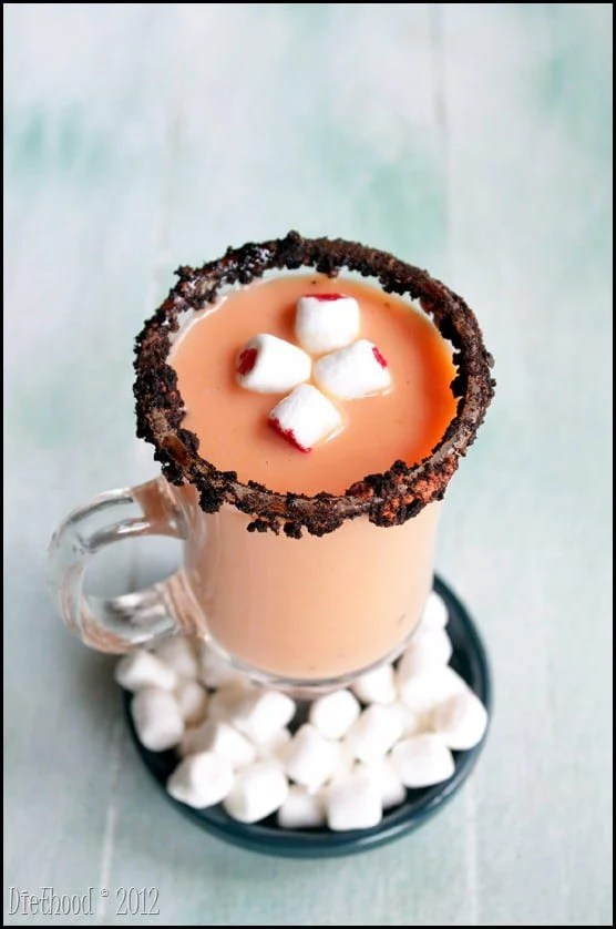 Spiked Pumpkin Pie White Hot Chocolate from Diethood.com