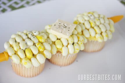 Corn on the Cob Cupcakes for April Fool's Day from OurBestBites.com