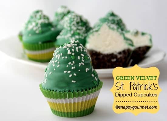 Green Velvet St. Patrick's Dipped Cupcakes from SnappyGourmet.com