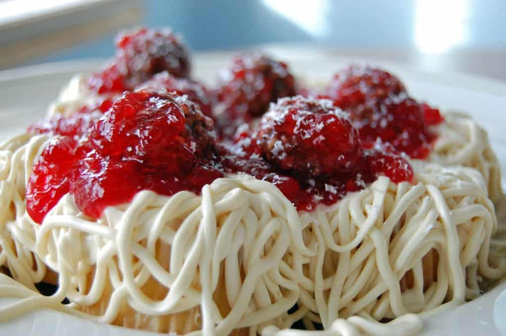 """Spaghetti and Meatballs"" for April Fool's Day by SeededAtTheTable.com"