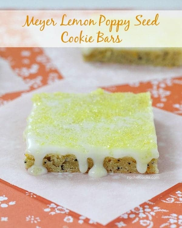 Meyer Lemon Poppy Seed Cookie Bars on RachelCooks.com