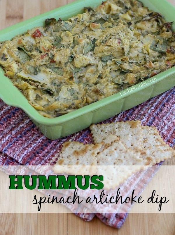 Hummus Spinach Artichoke Dip on RachelCooks.com