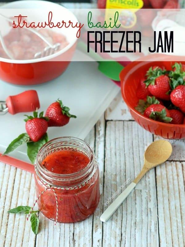 Strawberry Basil Freezer Jam - RachelCooks.com