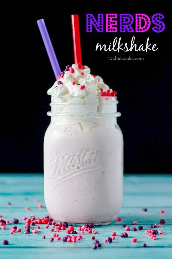 A new use for your favorite childhood candy, these Nerds milkshakes are fruity, sweet, and so much fun. Get the recipe on RachelCooks.com!