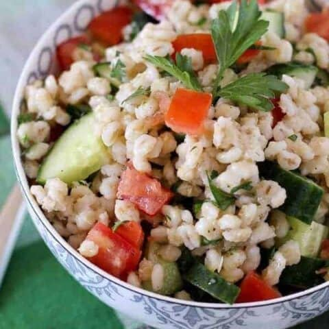 Barley Salad with Tomatoes, Cucumber and Parsley