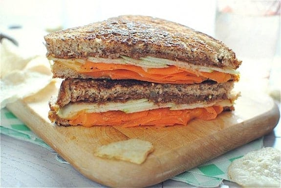 Grilled Almond Butter Cheese Sandwich from BevCooks.com