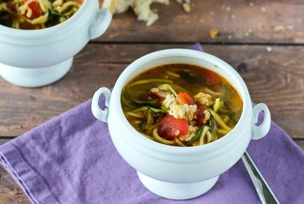 Italian Turkey Soup with Zucchini Noodles on RachelCooks.com