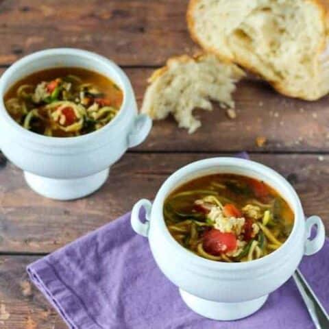 Italian Turkey Soup with Zucchini Noodles on RachelCooks.com