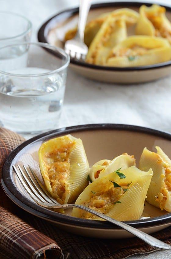 Pumpkin Stuffed Shells - recipe on anediblemosaic.com