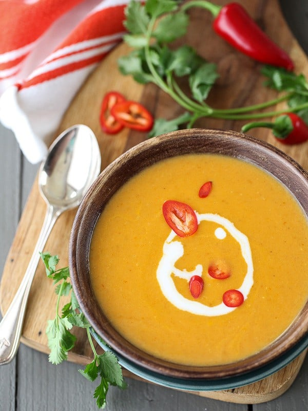 5-Ingredient Thai Pumpkin Soup from FoodieCrush.com