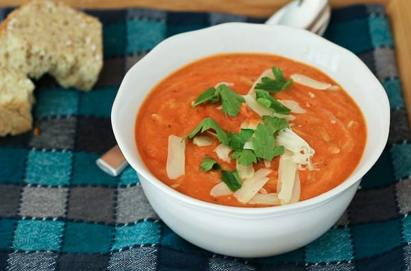 This hearty creamy tomato soup with whole wheat orzo is flavorful, healthy, and easy to make. It's perfect for a chilly fall or winter day!