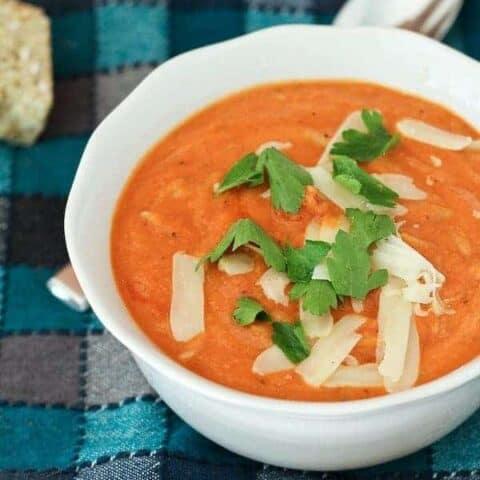 Creamy Tomato Soup with Whole Wheat Orzo