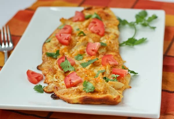 Chicken Enchilada Flatbread with a Creamy Enchilada Sauce - on RachelCooks.com