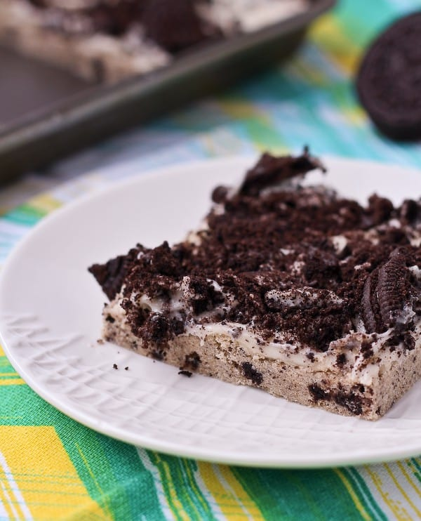 Oreo Cookie Bars - a delicious new way to eat America's favorite cookie! Get the easy dessert recipe on RachelCooks.com