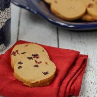 Gingerbread Shortbread Cookies with Cranberries