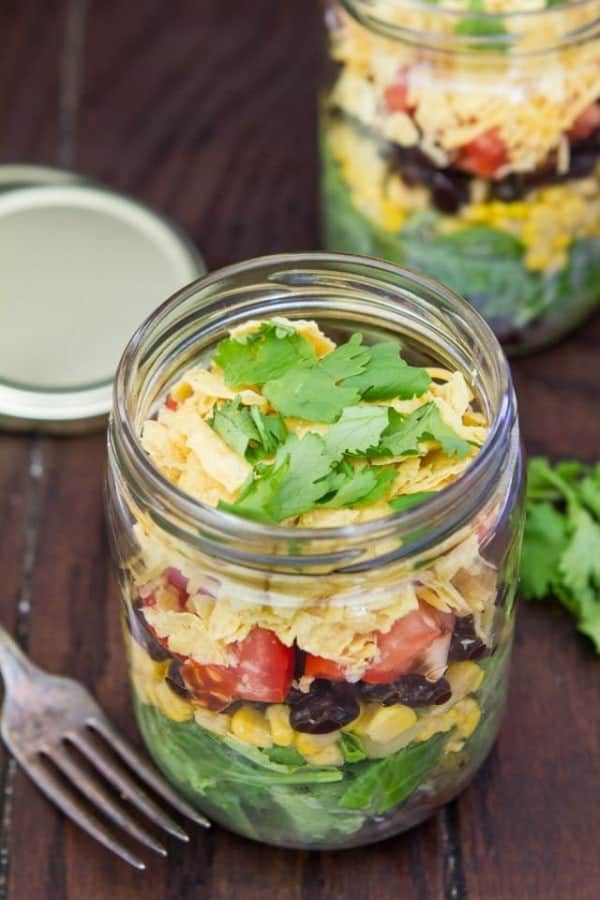 Mexican Salad in a Jar from AZestyBite.com
