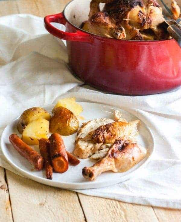 Find out how to easily roast a chicken (and make it a complete meal!) on RachelCooks.com