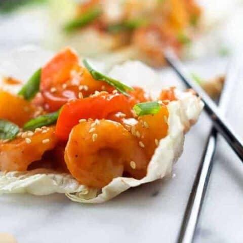 Sweet and Sour Shrimp Lettuce Wraps