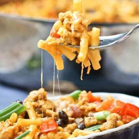 Southwestern Macaroni and Cheese with Ground Turkey