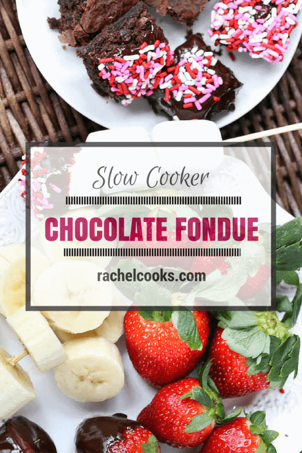 Chocolate Fondue in the SLOW COOKER! Make Valentine's Day easy this year. Get the instructions and recipe on RachelCooks.com