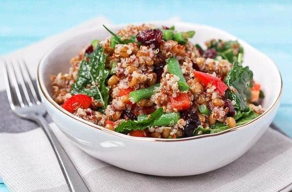 Quinoa and Wheat Berry Salad - colorful, flavorful, and healthy. It's the perfect lunch! Get the recipe on RachelCooks.com.