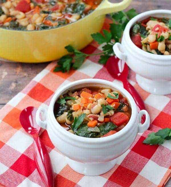 Pancetta and White Bean Soup with Kale - Get the healthy, filling and delicious recipe on RachelCooks.com