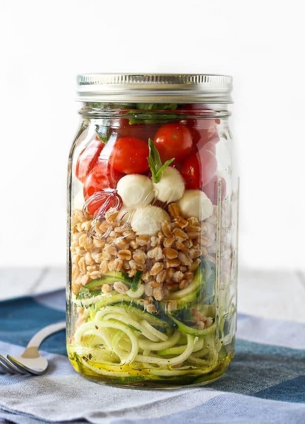 Zucchini Noodle Mason Jar Salad with Farro and Mozzarella - get the perfect lunch recipe on RachelCooks.com!