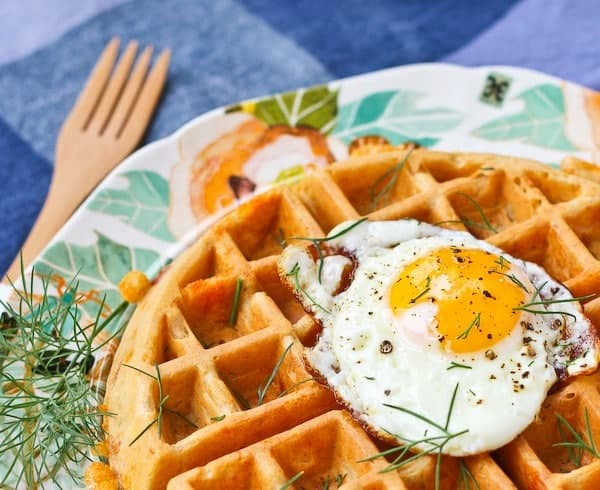 Savory Waffles with Cheddar, Dill and Ham - get the delicious easy waffle recipe on RachelCooks.com!
