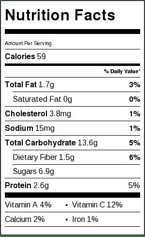 Tart Lemon Blueberry Popsicles Nutrition Label