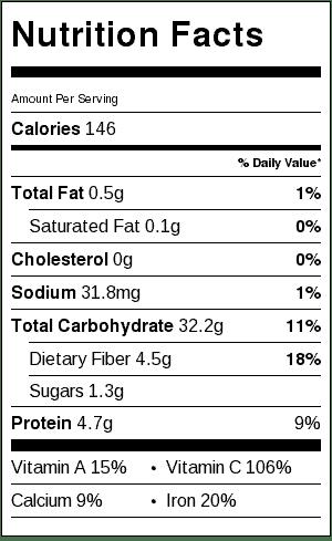 Dill Potato Salad Nutrition Label